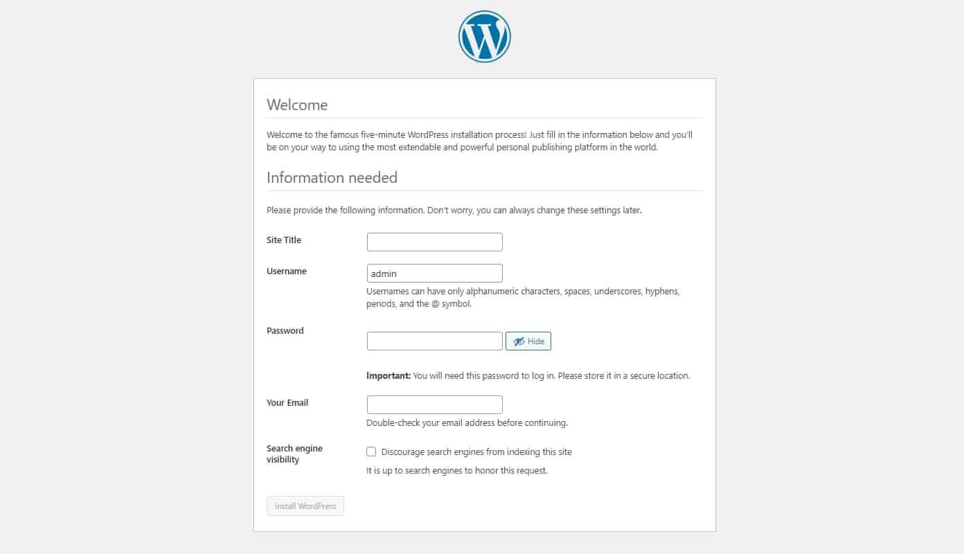 Manually install WordPress Welcome screen