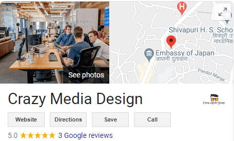 Crazy Media Design Google Business Map five star rating digital marketing agency
