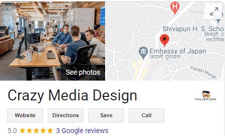 Crazy Media Design Google Business Map five star rating digital marketing agency