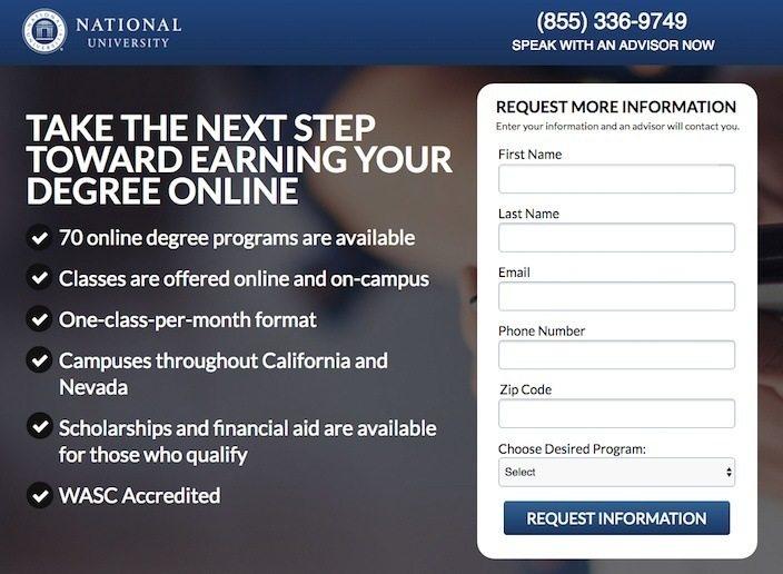 National-University-Landing Page